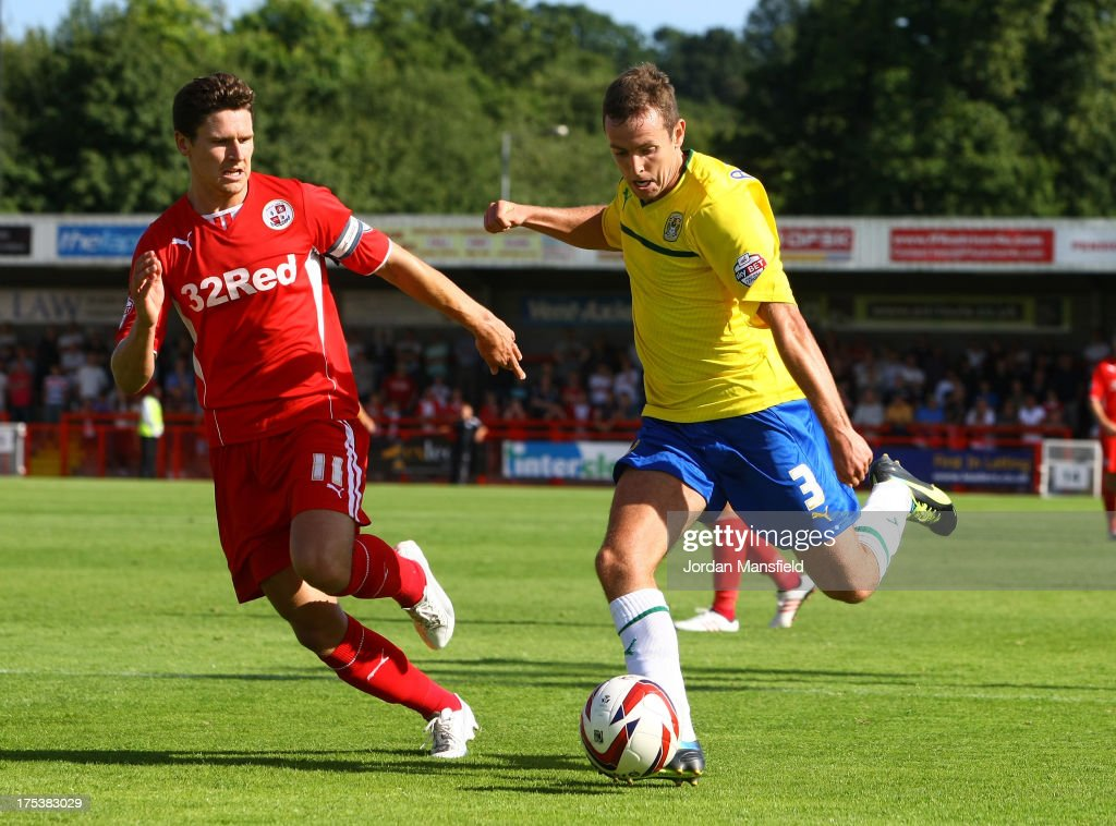 Blair Adams of Coventry (r) takes the ball past Josh Simpson of Crawley Town (l) during the Sky Bet League One match between Crawley Town FC and Coventry at Broadfield Stadium on August 03, 2013 in Crawley, West Sussex.