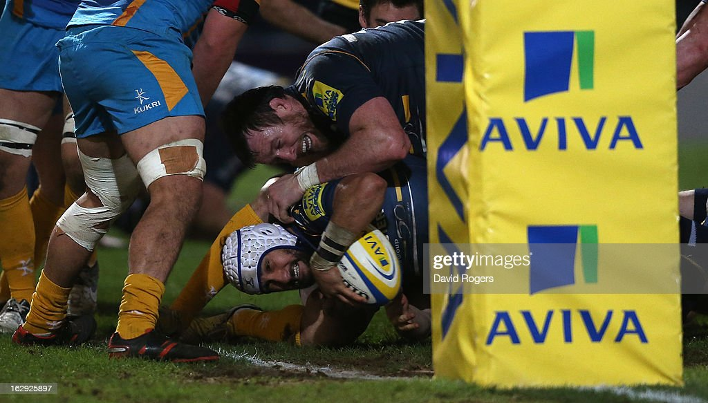 Blair Cowan of Worcester dives over for a try during the Aviva Premiership match between Worcester Warriors and London Wasps at Sixways Stadium on March 1, 2013 in Worcester, England.