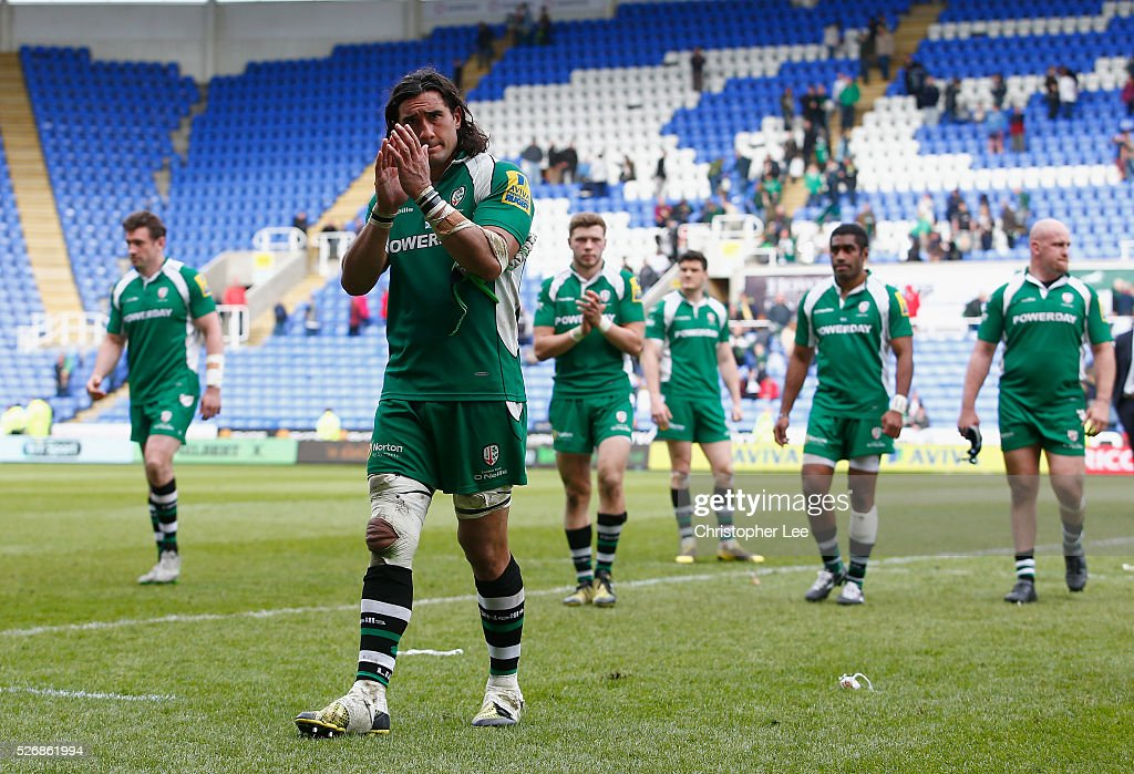 Blair Cowen of Irish looks dejected during the Aviva Premiership match between London Irish and Harlequins at the Madejski Stadium on 1 May, 2016 in Reading, England.
