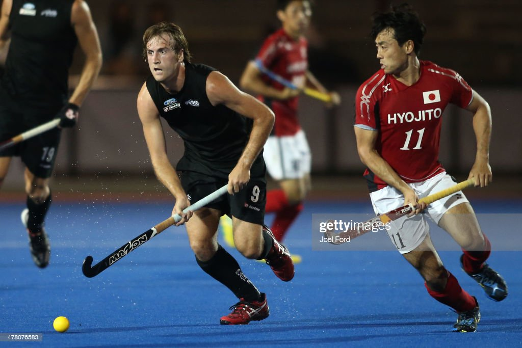 Blair Hilton of New Zealand runs with the ball during the Test Match between the New Zealand Black Sticks and Japan at Blake Park on March 12, 2014 in Mount Maunganui, New Zealand.