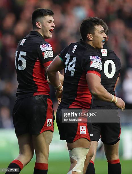 Blair Kinghorn and Damien Hoyland of Edinburgh celebrate at full time during the European Rugby Challenge Cup match between Edinburgh and Harlequins...