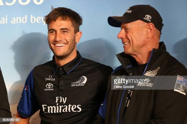 Blair Tuke and Grant Dalton address the crowds as Team New Zealand arrive at Auckland International Airport with the Americas Cup Trophy on July 5...
