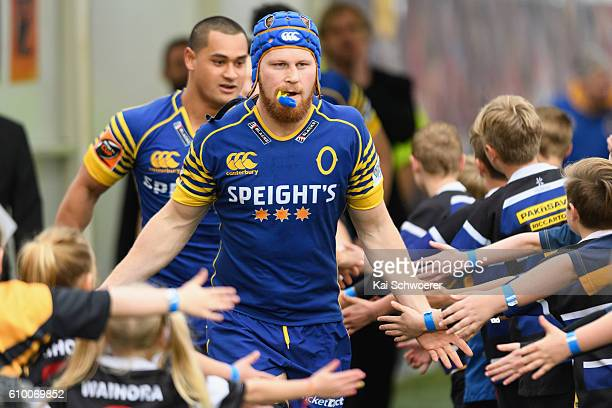 Blair Tweed of Otago runs out prior to the round six Mitre 10 Cup match between Canterbury and Otago at AMI Stadium on September 24 2016 in...