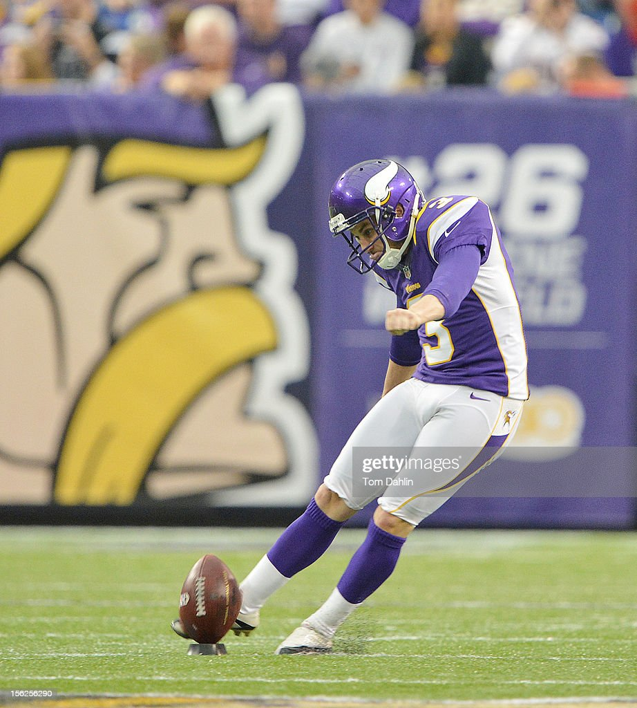 Blair Walsh #3 of the Minnesota Vikings kicks off during an NFL game against the Detroit Lions at Mall of America Field at the Hubert H. Humphrey Metrodome on November 11, 2012 in Minneapolis, Minnesota.