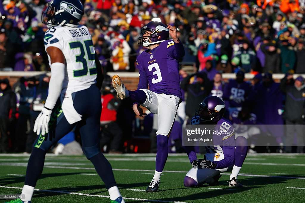 Blair Walsh #3 of the Minnesota Vikings misses a 27-yard field goal in the fourth quarter against the Seattle Seahawks during the NFC Wild Card Playoff game at TCFBank Stadium on January 10, 2016 in Minneapolis, Minnesota. The Seattle Seahawks defeat the Minnesota Vikings with a score of 10 to 9.