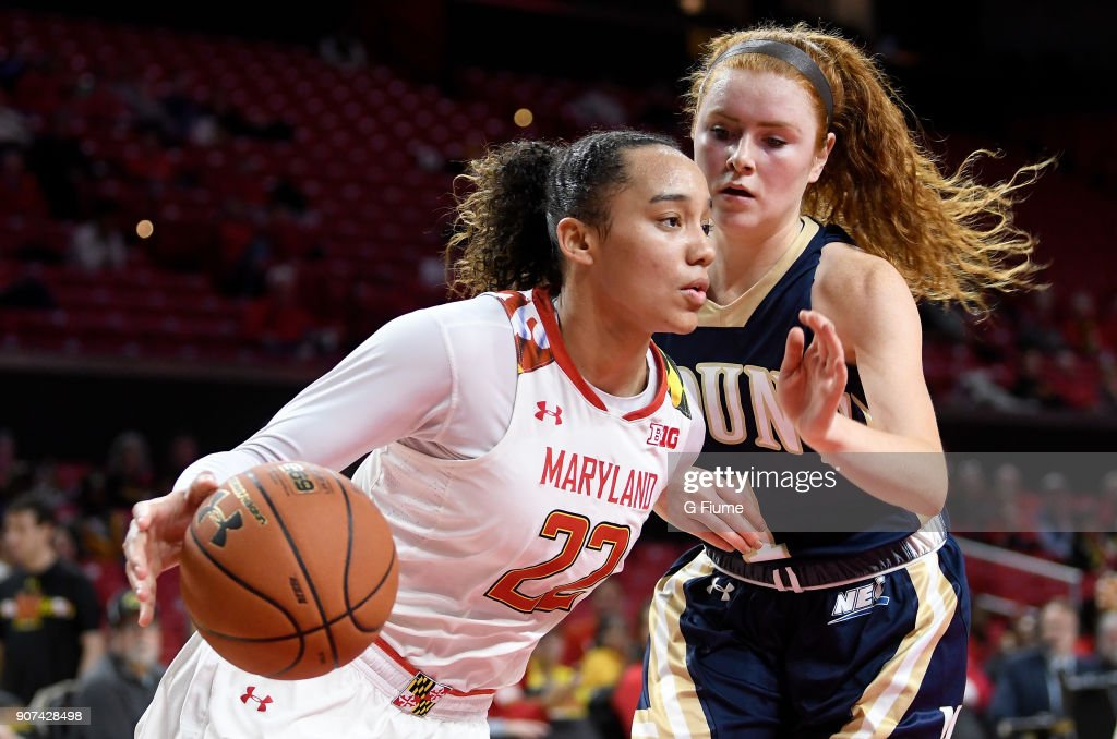 Blair Watson #22 of the Maryland Terrapins handles the ball against the Mount St. Mary's Mountaineers at Xfinity Center on December 6, 2017 in College Park, Maryland.