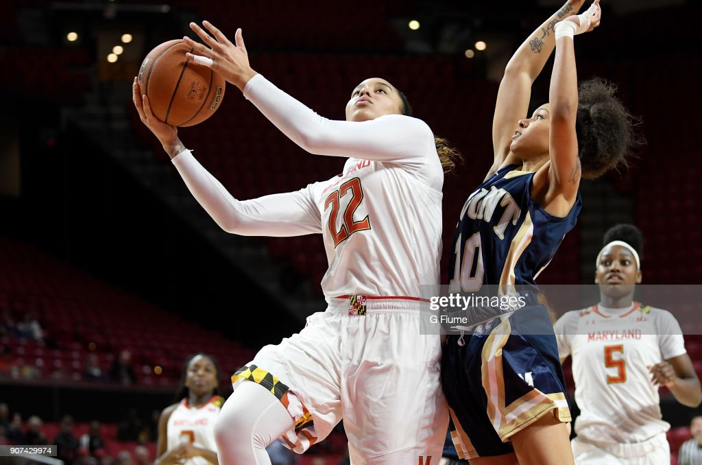 Blair Watson #22 of the Maryland Terrapins shoots the ball against the Mount St. Mary's Mountaineers at Xfinity Center on December 6, 2017 in College Park, Maryland.