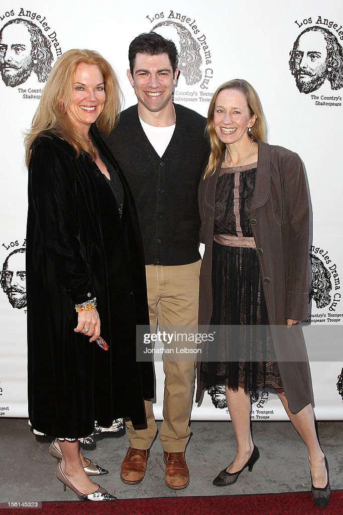 Blaire Baron Larsen, <a gi-track='captionPersonalityLinkClicked' href=/galleries/search?phrase=Max+Greenfield&family=editorial&specificpeople=599135 ng-click='$event.stopPropagation()'>Max Greenfield</a> and Julia Wyson at The Magic Castle on November 11, 2012 in Hollywood, California.