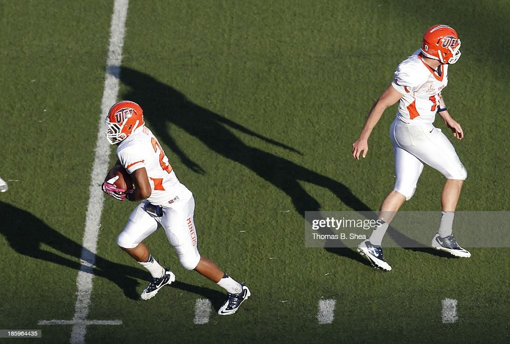 Blaire Sullivan #10 hands the ball of to Nathan Jeffery #25 of the UTEP Miners against the Rice Owls on October 26, 2013 at Rice Stadium in Houston, Texas. Rice won 45 to 7.