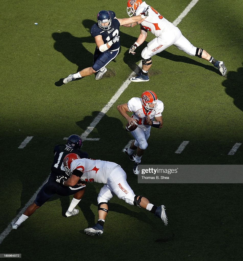 Blaire Sullivan #10 of the UTEP Miners rushes against the Rice Owls on October 26, 2013 at Rice Stadium in Houston, Texas. Rice won 45 to 7.