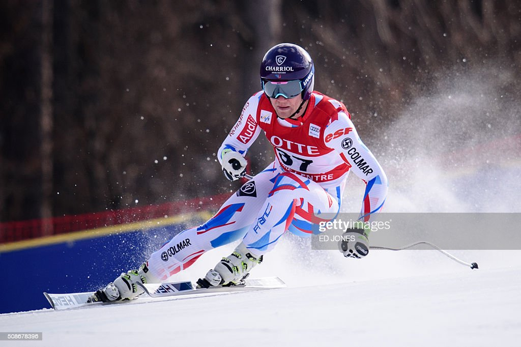 Blaise Giezendanner of France competes in the 8th Men's Downhill event of the FIS Alpine Ski World Cup in Jeongseon county, some 150km east of Seoul on February 6, 2016. The FIS Ski Men's World Cup runs from February 6-7 and is the first official test event for the Pyeongchang 2018 Winter Olympics. AFP PHOTO / Ed Jones / AFP / ED