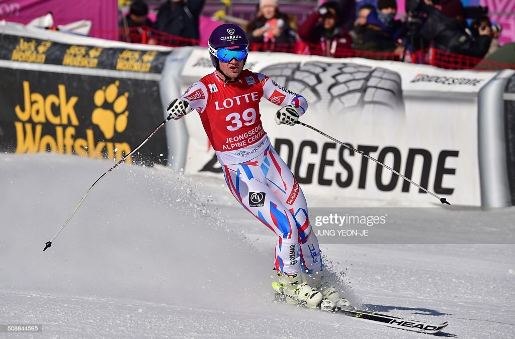 Blaise Giezendanner of France reacts at the finish line during the 8th men's super G event at the FIS Alpine Ski World Cup at the Jeongseon Alpine Centre in Jeongseon county, some 150 kms east of Seoul, on February 7, 2016. The FIS Ski Men's World Cup runs from February 6 to 7 and is the first official test event for the Pyeongchang 2018 Winter Olympics. AFP PHOTO / JUNG YEON-JE / AFP / JUNG YEON-JE