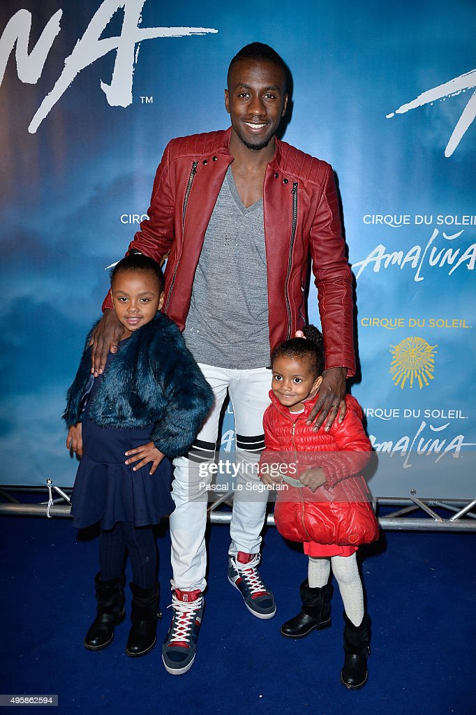 Blaise Matuidi and daughters Myliane and Naelle attend a photocall prior to the 'Amaluna' show from Cirque Du Soleil at Parc de Bagatelle on November 5, 2015 in Paris, France.