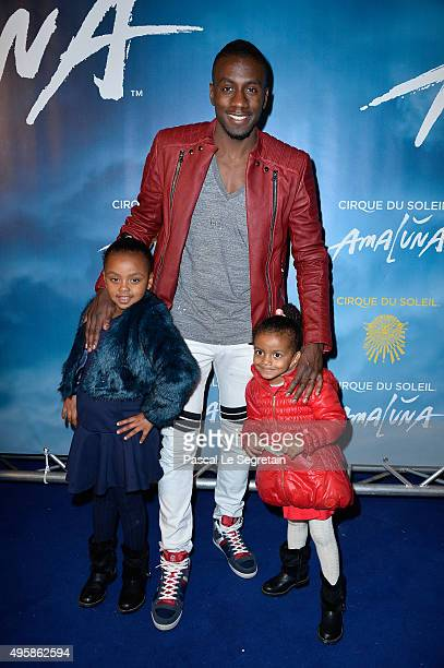 Blaise Matuidi and daughters Myliane and Naelle attend a photocall prior to the 'Amaluna' show from Cirque Du Soleil at Parc de Bagatelle on November...