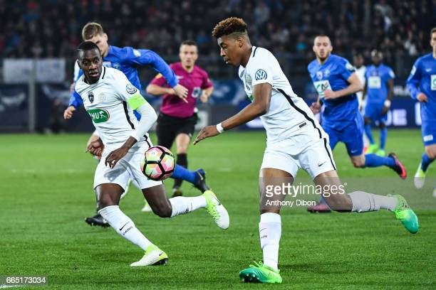 Blaise Matuidi and Presnel Kimpembe of PSG during the French National Cup Quarter Final match between Us Avranches and Paris Saint Germain at Stade...