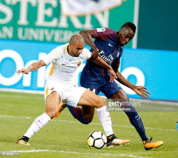 Blaise Matuidi from Paris SaintGermain and AS Roma Bruno Peres fight for the ball in their International Champions Cup match on July 19 2017 at...