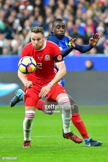 Blaise Matuidi of France and Chris Gunter of Wales during the international friendly match between France and Wales at Stade de France on November 10...