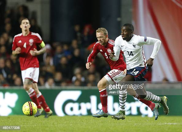 Blaise Matuidi of France and Michael KrohnDehli of Denmark in action during the international friendly match between Denmark and France at Telia...