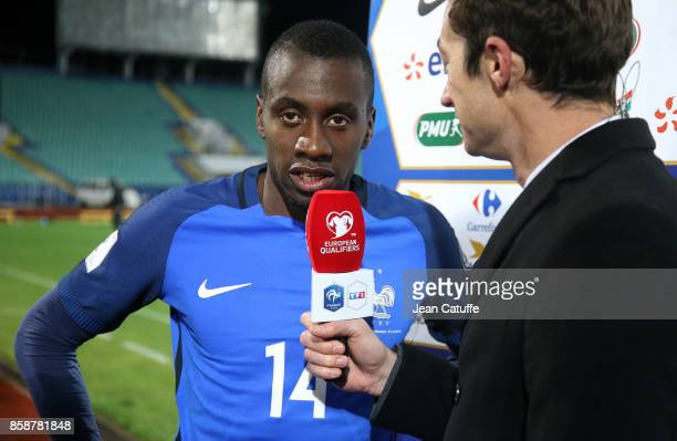 Blaise Matuidi of France answers to Frederic Calenge of TF1 following the FIFA 2018 World Cup Qualifier between Bulgaria and France at Vasil Levski...