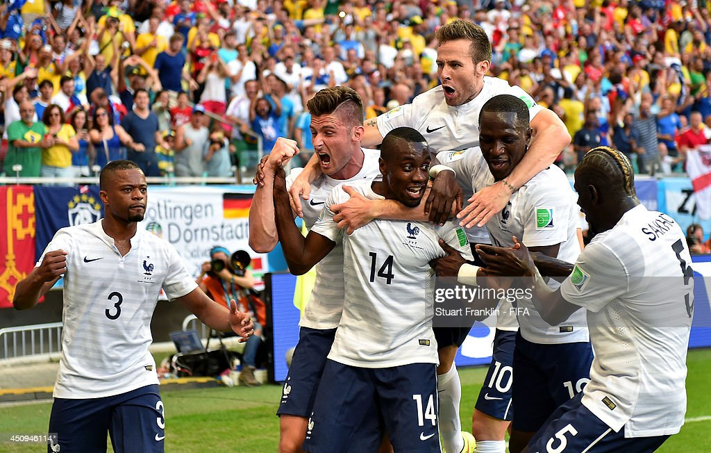 Blaise Matuidi (C) of France celebrates scoring his team's first goal with his teammates during the 2014 FIFA World Cup Brazil Group E match between Switzerland and France at Arena Fonte Nova on June 20, 2014 in Salvador, Brazil.