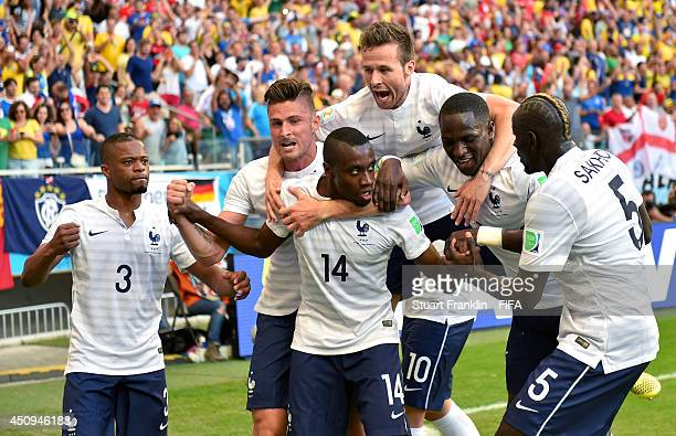 Blaise Matuidi of France celebrates scoring his team's first goal with his teammates during the 2014 FIFA World Cup Brazil Group E match between...