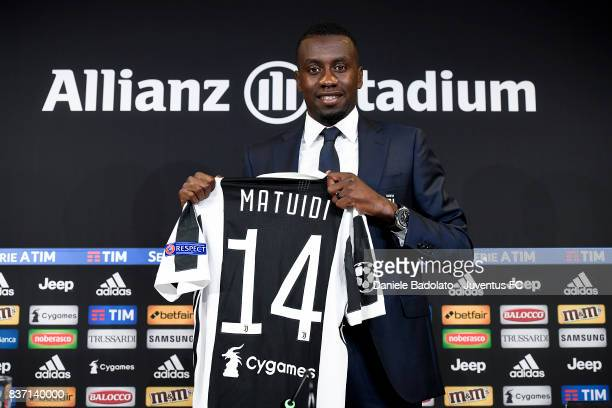 Blaise Matuidi of Juventus attends a press conference at Juventus Center Vinovo on August 22 2017 in Vinovo Italy