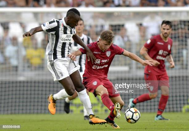Blaise Matuidi of Juventus competes for the ball with Nicolo' Barella of Cagliari during the Serie A match between Juventus and Cagliari Calcio at...