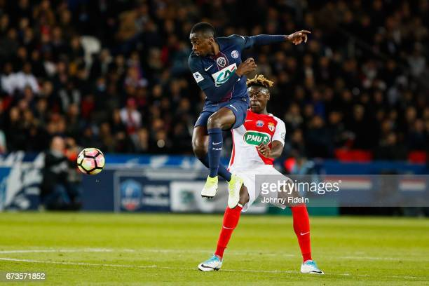 Blaise Matuidi of Paris Saint Germain and Kevin N'Doram of Monaco during the Semi final of the French Cup match between Paris SaintGermain and As...