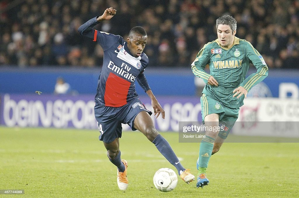 Blaise Matuidi of Paris Saint-Germain and Fabien Lemoine of Saint-Etienne ASSE during the French Ligue Cup between Paris Saint-Germain FC and Saint-Etienne ASSE at Parc Des Princes on december 18, 2013 in Paris, France.