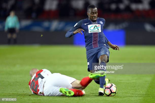 Blaise Matuidi of Paris SaintGermain fights for the ball during the French Cup SemiFinal match between Paris SaintGermain and As Monaco at Parc des...