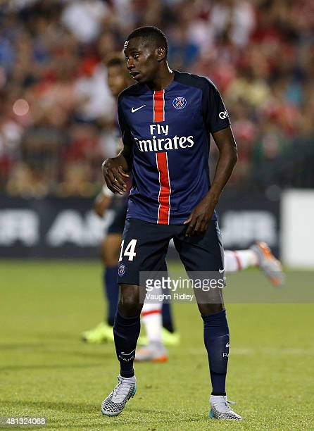 Blaise Matuidi of Paris SaintGermain in action during the 2015 International Champions Cup match against Benfica at BMO Field on July 18 2015 in...