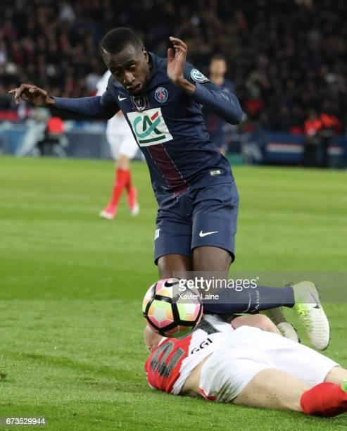 Blaise Matuidi of Paris SaintGermain in action during the French Cup SemiFinal match between Paris SaintGermain and As Monaco at Parc des Princes on...
