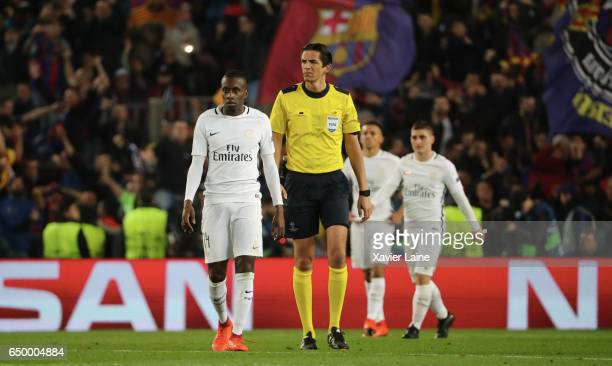 Blaise Matuidi of Paris SaintGermain is dispointed after the defeat during the UEFA Champions League Round of 16 second leg match between FC...