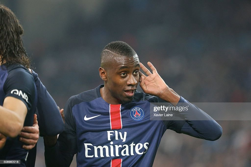 <a gi-track='captionPersonalityLinkClicked' href=/galleries/search?phrase=Blaise+Matuidi&family=editorial&specificpeople=801779 ng-click='$event.stopPropagation()'>Blaise Matuidi</a> of Paris Saint-Germain reacts with fan of Olympique de Marseille after the goal of Angel Di Maria during the French Ligue 1 between Olympique de Marseille and Paris Saint-Germain at Stade Velodrome on february 7, 2016 in Marseille, France.