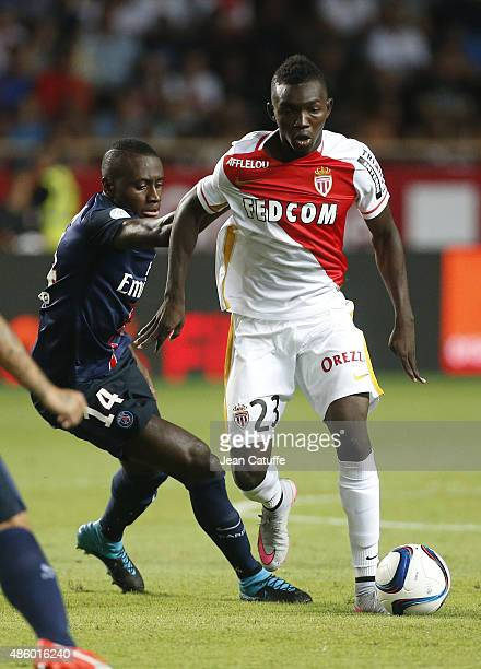 Blaise Matuidi of PSG and Adama Traore of Monaco in action during the French Ligue 1 match between AS Monaco and Paris SaintGermain at Stade Louis II...