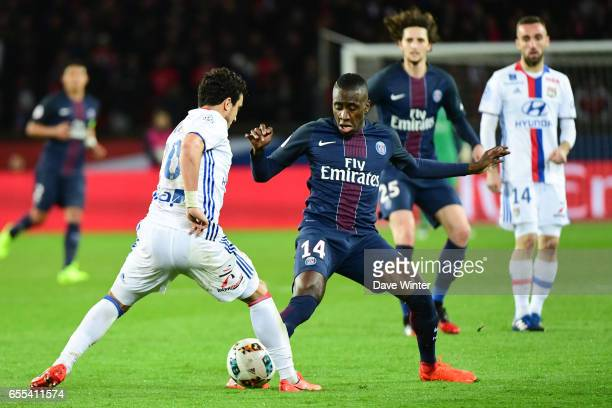Blaise Matuidi of PSG and Da Silva Rafael of Lyon during the French Ligue 1 match between Paris Saint Germain and Lyon at Parc des Princes on March...