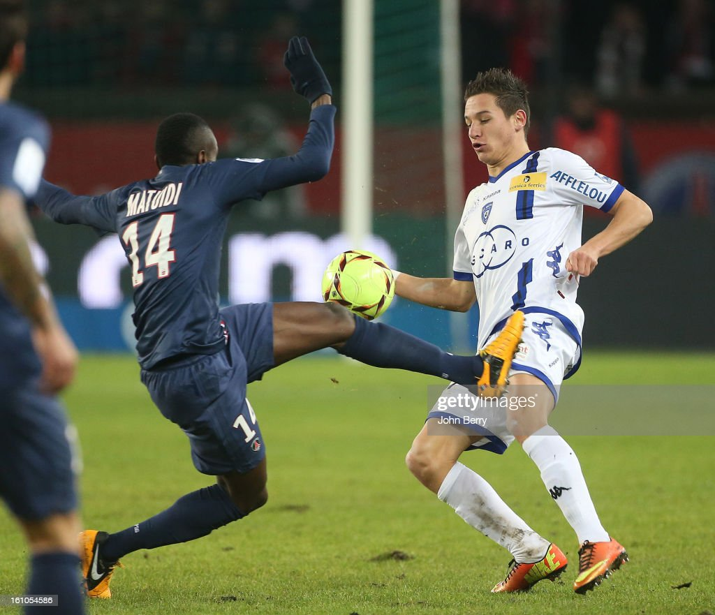 Blaise Matuidi of PSG and Florian Thauvin of SC Bastia in action during the French Ligue 1 match between Paris Saint Germain FC and Sporting Club de Bastia at the Parc des Princes stadium on February 8, 2013 in Paris, France.