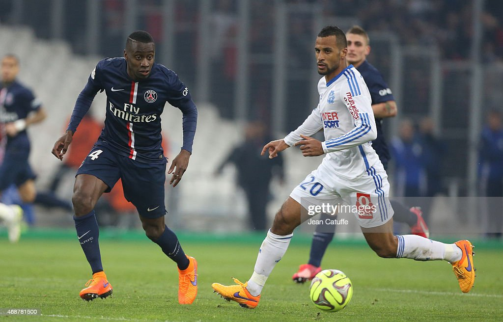 Blaise Matuidi of PSG and Jacques-Alaixys Romao of OM in action during the French Ligue 1 match between Olympique de Marseille (OM) and Paris Saint-Germain (PSG) at New Stade Velodrome on April 5, 2015 in Marseille, France.