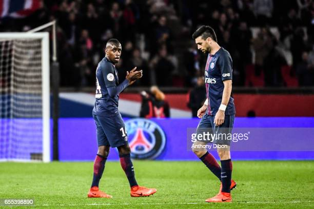 Blaise Matuidi of PSG and Javier Pastore of PSG during the French Ligue 1 match between Paris Saint Germain and Lyon at Parc des Princes on March 19...