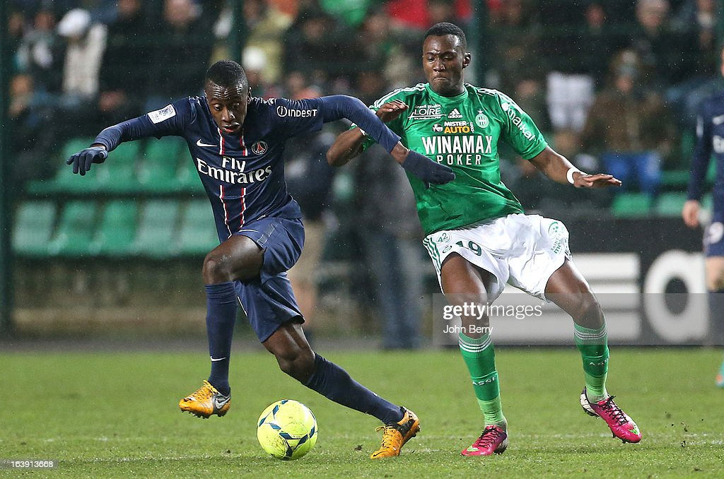 Blaise Matuidi of PSG and Josuha Guilavogui of Saint-Etienne in action during the Ligue 1 match between AS Saint-Etienne ASSE and Paris Saint-Germain FC at the Stade Geoffroy-Guichard on March 17, 2013 in Saint-Etienne, France.