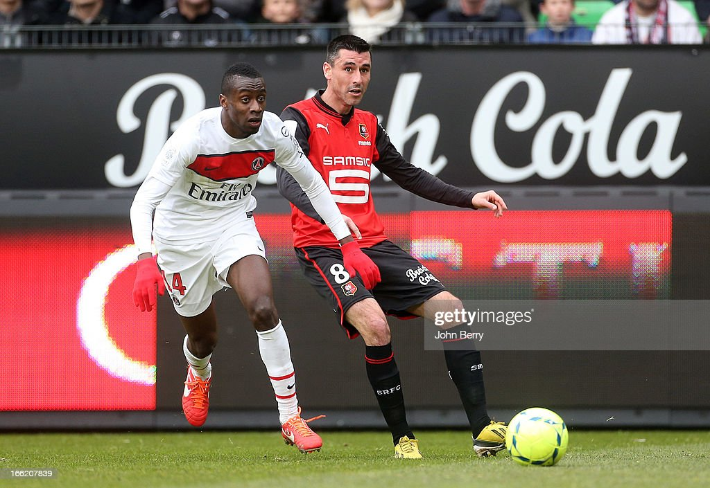 Blaise Matuidi of PSG and Julien Feret of Rennes in action during the Ligue 1 match between Stade Rennais and Paris SaintGermain FC at the Stade de...