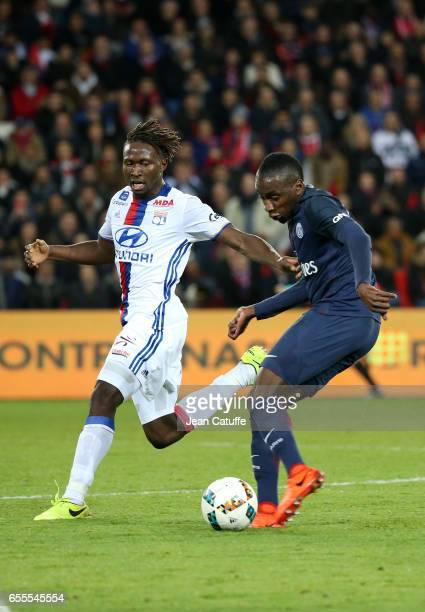Blaise Matuidi of PSG and Mapou YangaMbiwa of Lyon in action during the French Ligue 1 match between Paris SaintGermain and Olympique Lyonnais at...