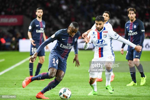 Blaise Matuidi of PSG and Nabil Fekir of Lyon during the French Ligue 1 match between Paris Saint Germain and Lyon at Parc des Princes on March 19...