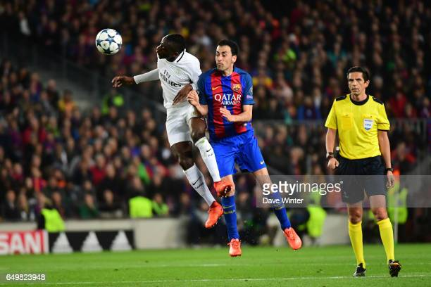 Blaise Matuidi of PSG and Sergio Busquets of Barcelona during the Uefa Champions League Round of 16 second leg match between FC Barcelona and Paris...