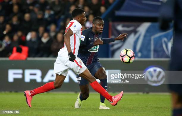 Blaise Matuidi of PSG and Yhoan Andzouana of Monaco in action during the French Cup semifinal match between Paris SaintGermain and AS Monaco at Parc...
