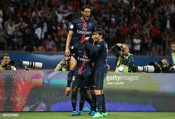 Blaise Matuidi of PSG celebrates scoring a goal with Edinson Cavani and Maxwell Scherrer of PSG during the French Ligue 1 match between Paris...