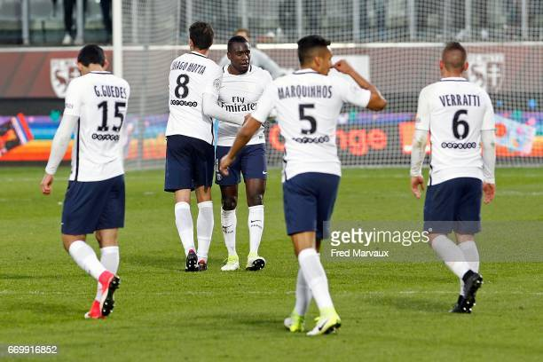 Blaise Matuidi of PSG celebrates scoring his goal during the Ligue 1 match between Fc Metz and Paris SaintGermain at Stade SaintSymphorien on April...