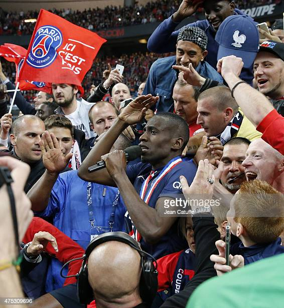 Blaise Matuidi of PSG celebrates the victory among the supporters after the French Cup Final between Paris SaintGermain and AJ Auxerre at Stade de...