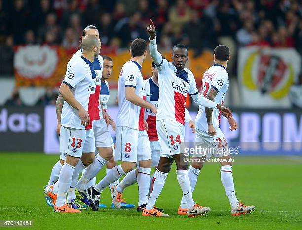 Blaise Matuidi of PSG gestures as he celebrates with team mates after scoring their first goal during the UEFA Champions League Round of 16 first leg...