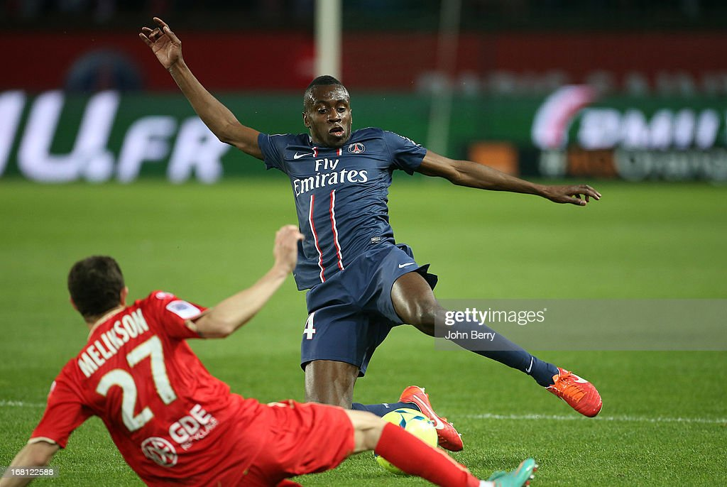 <a gi-track='captionPersonalityLinkClicked' href=/galleries/search?phrase=Blaise+Matuidi&family=editorial&specificpeople=801779 ng-click='$event.stopPropagation()'>Blaise Matuidi</a> of PSG in action during the Ligue 1 match between Paris Saint-Germain FC and Valenciennes FC at the Parc des Princes stadium on May 5, 2013 in Paris, France.
